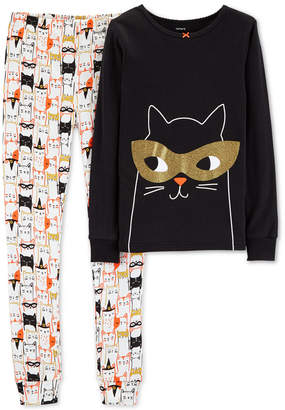 Carter's Little & Big Girls 2-Pc. Halloween Black Cat Graphic Pajamas Set