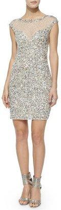 Parker Montclair Cap-Sleeve Beaded Cocktail Dress $418 thestylecure.com