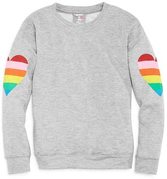 Flowers by Zoe Girls' Rainbow Heart Terry Sweatshirt - Big Kid