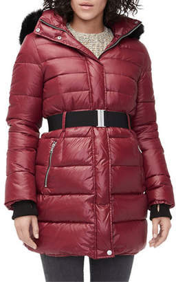 UGG Valerie Belted Down Coat with Toscana Fur Trim