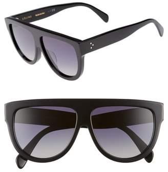 Celine Special Fit 60mm Polarized Gradient Flat Top Sunglasses