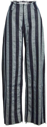 Marques Almeida Marques' Almeida Striped Boyfriend Pants in Cotton and Linen