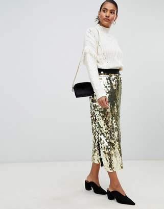 French Connection Disc Sequin Maxi Skirt
