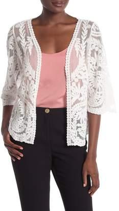 Ronni Nicole Lace 3\u002F4 Sleeve Cardigan