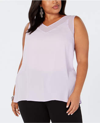 INC International Concepts I.n.c. Plus Size Sheer-Trim Tank