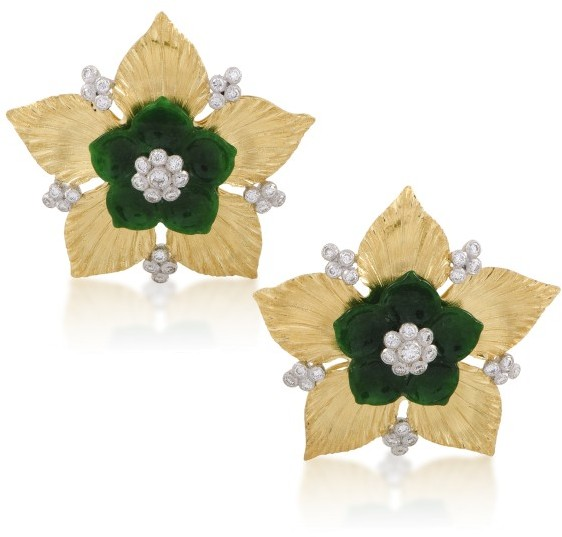 BuccellatiBuccellati 18K Yellow and White Gold Diamond and Jade Flower Earrings
