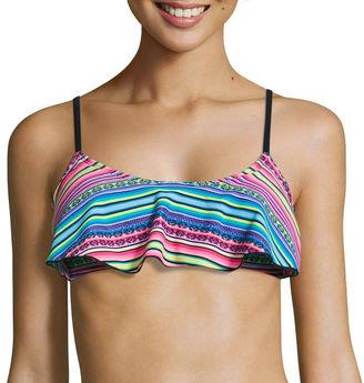 ARIZONA Arizona Stripe Flounce Swimsuit Top-Juniors $36 thestylecure.com
