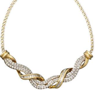 Macy's 14k Gold Necklace, Diamond Swirl Twist (1/2 ct. t.w.)