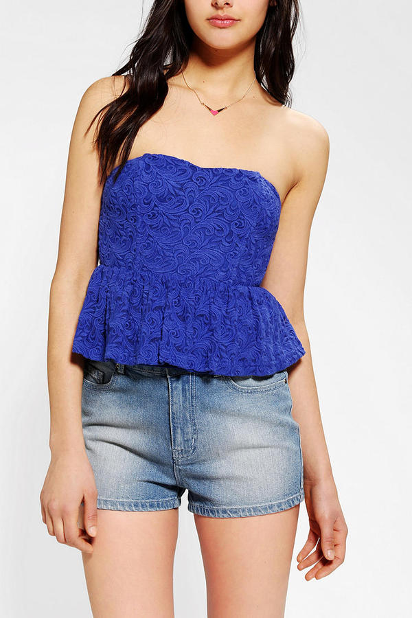 Urban Outfitters Pins And Needles Strapless Lace Peplum Top