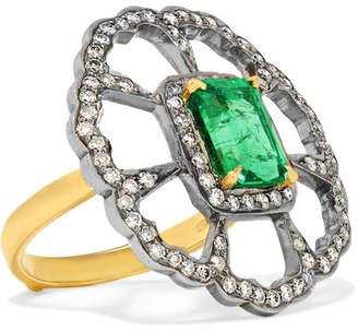 Amrapali 18-karat Gold, Sterling Silver, Diamond And Emerald Ring - 6