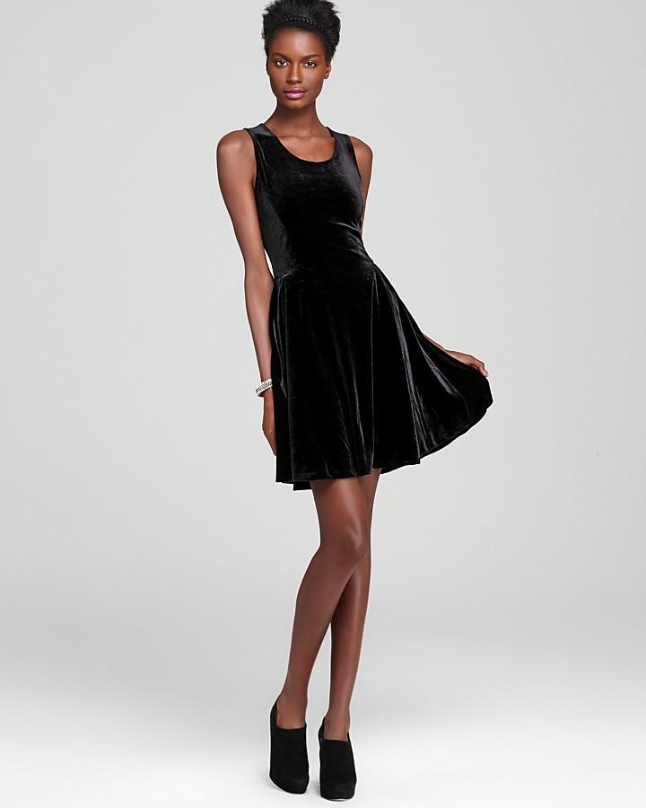 Aqua Stretch Velvet Dress - Fit and Flare
