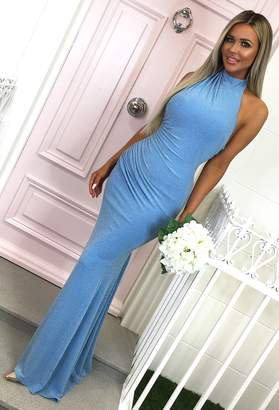 45ca9cdef22 Pink Boutique Sapphire Sky Powder Blue Halterneck Glitter Maxi Dress