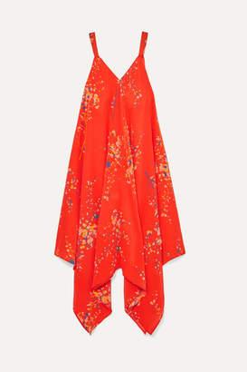 Jaline - Selena Floral-print Silk Crepe De Chine Dress - Coral