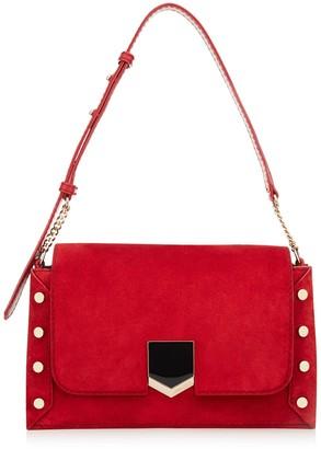Jimmy Choo LOCKETT SHOULDER BAG Red Suede Shoulder Bag