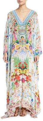 Camilla V-Neck Long-Sleeve Printed Silk Kaftan Coverup, One Size