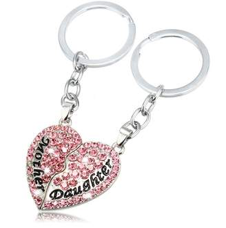 JiangYan-US Mother Daughter Best Friends Forever Keychain Full CZ Diamond Broken Heart Engraved Letters Keyring Set