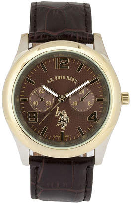 U.S. Polo Assn. USPA Mens Brown Leather Strap Watch