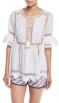 Talitha Collection Tie-Front Short-Sleeve Lace-Insert Cotton Gypsy Blouse