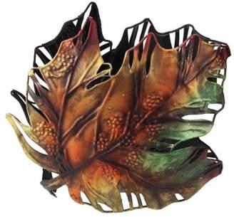 "Roman 6"" Autumn Colored Maple Leaf Metal Thanksgiving Leaf Votive Candle Holder"