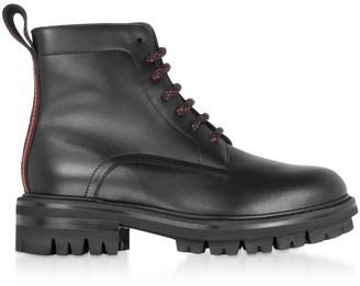 DSQUARED2 Signature Black Leather Combat Boots