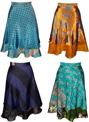 Virgin Crafts Wholesale Lot of 3 Vintage Sari 2 Layer Magic Wrap Skirt Multi Color Long Wrap Around Skirts Boho Dress