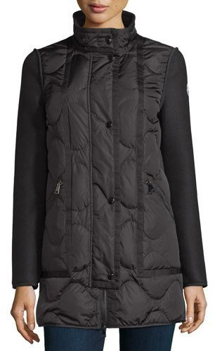 MonclerMoncler Theodora Quilted Puffer Coat w/Shearling Hood, Black