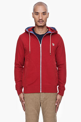 PAUL SMITH JEANS Red Zip Front Hoodie