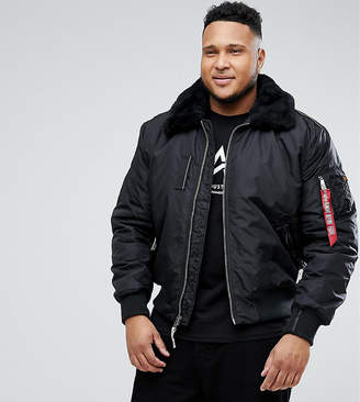 Alpha Industries PLUS Bomber Jacket Shearling Collar in Black