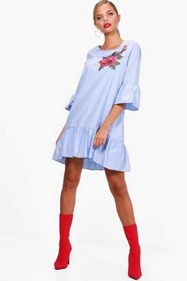 boohoo Embroidered Frill Hem Woven Shift Dress