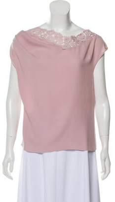 Nina Ricci Silk Lace-Trimmed Top