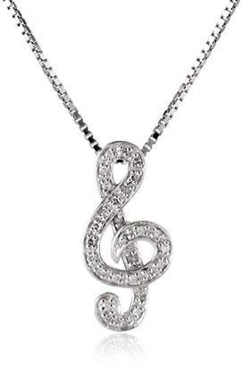 Sterling Silver 1/10cttw Diamond Musical Note Pendant Necklace
