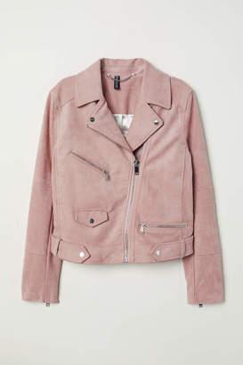 H&M Faux Suede Biker Jacket - Gray-blue - Women