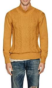 Inis Meain Men's Reverse-Cable-Knit Alpaca-Silk Sweater - Mustard