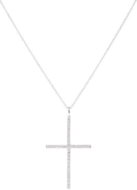Ileana Makri Diamond & White Gold Cross Pendant Necklace-Colorless