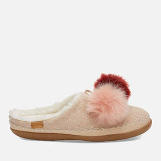 Toms Women's Ivy Multicolour Pom Pom Slippers - Rose Cloud