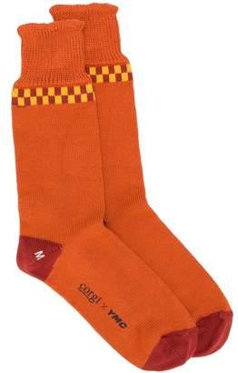 YMC checkered pattern socks