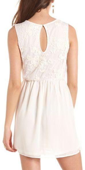 Charlotte Russe Crochet Top Chiffon A-Line Dress