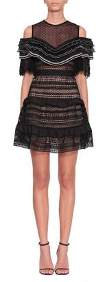 Self-Portrait Stripe Panelled Lace Dress