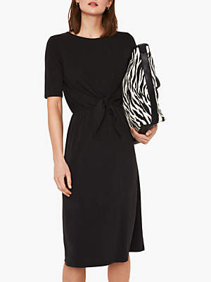 Warehouse Tie Front Dress, Black