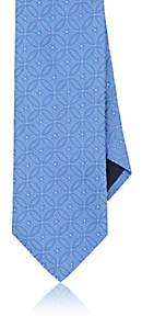 Barneys New York MEN'S GEOMETRIC-FLORAL SILK JACQUARD NECKTIE-LT. BLUE