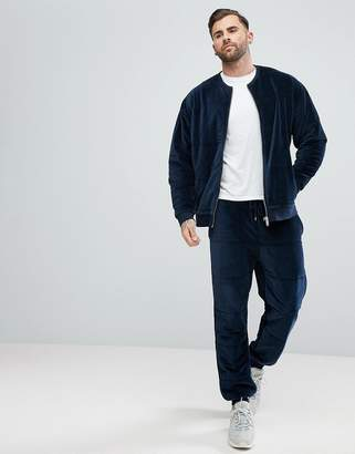 Asos Tracksuit Bomber/ Skinny Joggers In Navy Quilted Puffer Velour