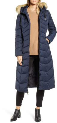 Tahari Faux Fur Collar Puffer Coat