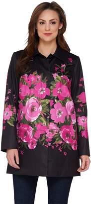 Dennis Basso Water Resistant Placed Floral Print Jacket
