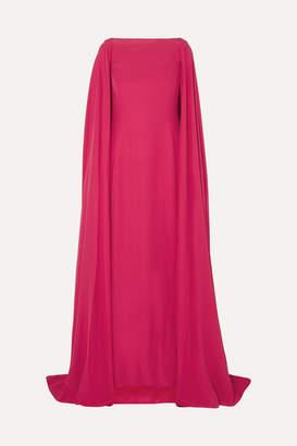 Carolina Herrera Cape-effect Silk Gown - Red