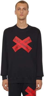 Dolce & Gabbana Cotton Jersey Sweater W/ Logo Tape