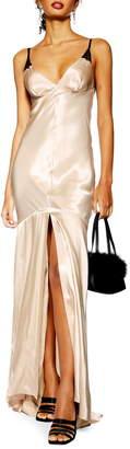 Topshop Lace Satin Maxi Dress