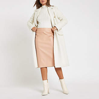 River Island Light pink faux leather pencil skirt