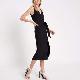 River Island Black wrap front tie waist cami midi dress