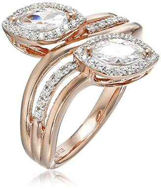 Sterling Silver with Gold Plating Marquise Cubic Zirconia Two Stone Ring