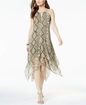 INC International Concepts I.n.c. Petite Printed Crinkle Keyhole Halter Dress, Created for Macy's